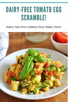 Delicious and easy morning breakfast - tomato egg scramble! Completely dairy-free, gluten-free, grain-free and Paleo! Morning Breakfast, Free Breakfast, Breakfast Recipes, Paleo Breakfast, Dairy Free Recipes, Vegetarian Recipes, Gluten Free, Egg Recipes, Dinner Recipes