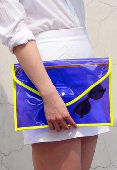 Neon DayGlo Oversize Clear Envelope Clutch Purse