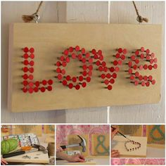Here is an easy DIY project to make nail art wall decoration for Valentine's Day. You can use the same method to design your own signs of words.