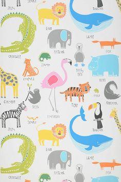 My favorite Animals | Papel pintado dormitorio de niños | Papeles pintados extra…