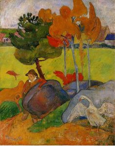 Breton boy in landscape by Paul Gauguin
