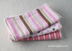 How to make your own washcloths with flannel and chenille fabric. They are great for babies, but they are also perfect for taking off make-up!