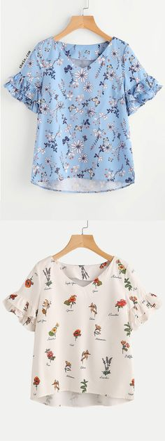 Layered Ruffle Sleeve Stepped Hem Botanical Top Cute Comfy Outfits, Casual Outfits, High Fashion, Fashion 2020, Fall Outfits, Fashion Outfits, Creation Couture, Cute Blouses, Sewing Clothes