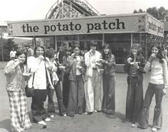 "The famous ""potato patch"" in the center of Kennywood, where French fries are served in a basket with an option of up to eight toppings."