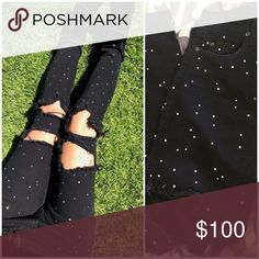 """SALE✨LF Carmar rhinestone distressed skinny denim NWOT Carmar LF Stores skinny black rhinestones all over studded distressed ripped knee mid rise black jeans! Ripped knees 🌹Retails $368 !! New without tags - Rhinestones all over back and front! ☺️😍🙏🏼🌹✨ Size 28"""" waist will fit from a 26""""-28"""" comfortably 🌹✨ wildfox dollskill alternative unif goth pentagram pastel babe Tumblr LF Stores Brandy Melville cali LA ripped knees distressed denim high waist rag & bone LF Pants"""