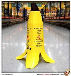 caution wet floor banana-peel-retail-point-of-sale - MINIONS