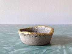 mini concrete container with gold metallic accent. modern home decor. minimalist planter pot. ring dish. | ReRunRoom |