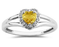 She'll Love this #Heart Shaped #Citrine and #Diamond Ring, 10K White Gold