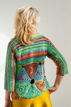 Shine in this beautiful crochet blouse with triangle patterns. Wear it with jeans, a skirt or make it the main piece of your outfit with its happy colors. Made out of cotton and acrylic yarn, the blouse is fashionable for any cold season. Crochet Blouse, Crochet Top, Triangle Pattern, Happy Colors, Beautiful Crochet, Trending Outfits, Sweaters, Cotton, Handmade