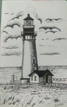 Lighthouse Sketch, Lighthouse Art, Art Drawings Sketches Simple, Pencil Art Drawings, How To Start Painting, Famous Lighthouses, Lighthouse Pictures, Landscape Drawings, Beach Scenes
