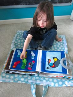 Pillow Quiet Book Cover - When the case is open, you can sit on it like a blanket and play. When it is closed, you can use it as a pillow!