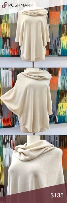 Joie 100% Cashmere Cowl Neck Poncho Sweater Small This cowl neck poncho sweater by Joie is made of 100% cashmere in delicate ivory. Soft to the touch, it's warm and cozy as well as casually sophisticated. A versatile item which can be dressed up with pointy heel booties or down in denim or thrown over a jumpsuit.   •EUC, no flaws •Size small but can easily for medium or large. Mannequin is a size 4/6 small •Dry clean  ◩ 20% off bundles of 2+ ◪ Check out my other goodies! Joie Sweaters Cowl…
