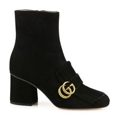 Gucci Marmont Gg Suede Block Heel Booties ($1,100) ❤ liked on Polyvore featuring shoes, boots, ankle booties, ankle-boots, black, block heel booties, black ankle boots, black suede boots, suede ankle booties and short boots