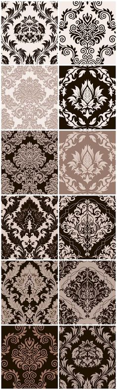 Damask Vector Backgrounds - Vector, patterns, background