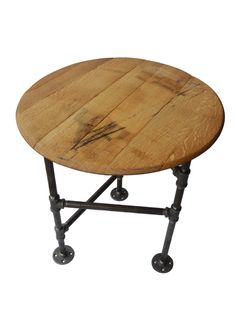 end table pipe industrial side table reclaimed upcycled jack daniels whiskey barrel wood table with pipe legs black iron pipe tripod legs black steel pipe furniture