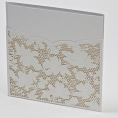 This lace effect laser cut Pearl White wallet is sold complete with a printable Pearl White invitation mat and matching outer envelope. Top Tip! For a fairytale look and guaranteed happy ending add a little bling with an embellishment and some self adhesive diamantes.