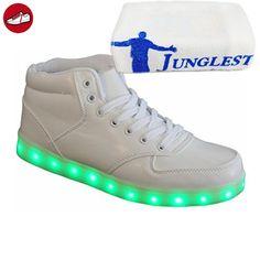 (Present:kleines Handtuch)Weiß EU 42, Party Herren Rollbrett Tanzen für Glow 7 Sport Leuchtend Farbe Aufladen LED High-Top Sneakers mode Schuhe JUNGLES