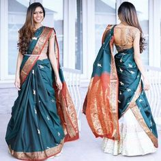 How about reusing an old saree from your mums closet and wearing it as a lehenga dupatta? it is affordable, chic and looks super stylish. Lehenga Saree Design, Lehenga Dupatta, Raw Silk Lehenga, Lehenga Style, Saree Blouse Designs, Lehanga Saree, Saree Wearing Styles, Saree Styles, Indian Beauty Saree
