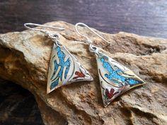 Modern Triangle Silver Navajo Indian Bird Earrings,Triangle Earrings,Geometric Earrings,Turquoise Earrings,Pierced Earrings,Gifts For Her by Supsilver on Etsy