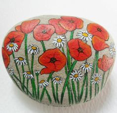 .Pretty poppies and daisies...a beautiful flower rock!