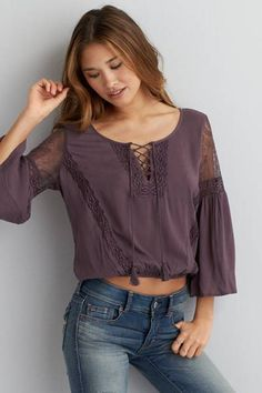 AEO Lace Inset Peasant Top  by AEO   Expose your inner boho with a romantic peasant top.  Shop the AEO Lace Inset Peasant Top  and check out more at AE.com.