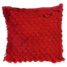 "Red felt pillow with a scale-inspired design.  Product: PillowConstruction Material: FeltColor: RedFeatures: Insert includedDimensions: 18"" x 18"""