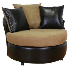 Found it at www.dcgstores.com - ♥ ♥ Alexa Round Upholstered Armchair in Chocolate and Mocha ♥ ♥