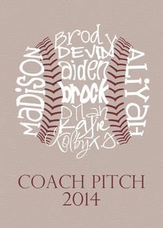 Baseball Coach Gift... Typography Art by lesleygracedesigns