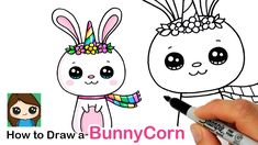 How to Draw a Bunny Unicorn 🐰🦄 Bunnycorn Cute Kawaii Drawings, Cute Animal Drawings, Cartoon Drawings, Easy Drawings, Simple Cartoon, Cartoon Kids, Unicorn Drawing, Kawaii Bunny, Marker Paper