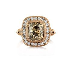 Mark Broumand 4.56ct Fancy Orangy Brown Cushion Cut Diamond Engagement... ($14,995) ❤ liked on Polyvore featuring jewelry, rings, rose gold, cushion diamond ring, round cut diamond rings, bezel set ring, round diamond ring and round cut diamond engagement rings