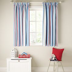 Buy little home at John Lewis Finlay Ahoy There Pencil Pleat Lined Curtains, Blue online at JohnLewis.com - John Lewis