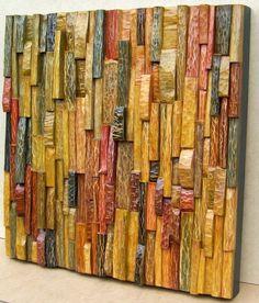 Olga Oreshyna: Consonance - acrylic on stained wood block