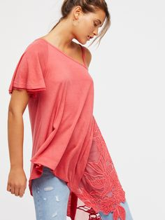 Flock Together Tunic | Gorgeous tunic featuring an asymmetrical shape with bold floral embroidery along the sheer side.    * Femme frayed edges along the sleeve and strap