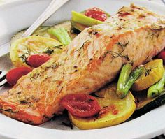 Salmon Steaks with Roasted Veggies - The Gardening Cook