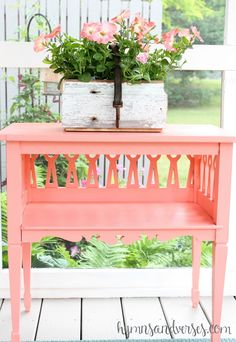 Painted Furniture ~ CORAL My auction win. A paint makeover just perfect for Summer. Upcycled Furniture, Furniture Making, Diy Furniture, Coral Painted Furniture, Painted Tables, Do It Yourself Design, Do It Yourself Home, Furniture Inspiration, My New Room