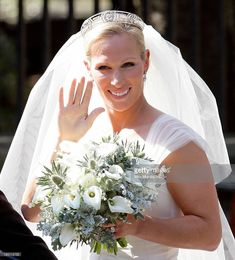 JULY 30, 2011:  Zara Phillips waves to the crowds as she leaves Canongate Kirk after her wedding to Mike Tindall on July 30, 2011 in Edinburgh, Scotland. The Queen's granddaughter.and her new husband were feted at a wedding luncheon that drew many royals, including the Duke and Duchess of Cambridge.