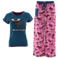 Lazy One Moose-tache Pajama Set for Juniors - What is more fun than a moose with a giant mustache? These jammies are made of comfortable cotton and even have a pocket for your cell phone.