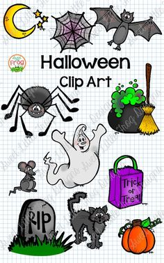 This cute set of Halloween clip art characters is perfect for an elementary classroom. It has a pumpkin, spider, ghost, black cat, trick or treat bag, cauldron, and more! Use these graphics to decorate a bulletin board in kindergarten, 1st, 2nd, 3rd, 4th, and 5th grade, or to make simple crafts or activities for your students that are scary awesome. Images come in color and in black and white.
