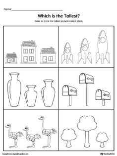 **FREE** Which is the Tallest Item? Worksheet. Practice identifying the tallest items in this printable worksheet.