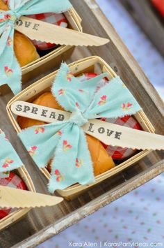 Love this spread love butter + jam basketful a luncheon or party! Cute food idea! Picnic in the Park by Kara Allen | Kara's Party Ideas in NYC