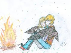 this is my favorite moment, when puck sat behind her to keep her worm, so she wont freeze to death, and Sabrina was in shock for how kind he did puck and sabrina Dwayne And Whitley, Grimm Series, Achilles And Patroclus, Maximum Ride, Percy And Annabeth, Fanart, Lunar Chronicles, Book Nerd, Great Books
