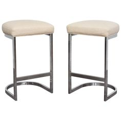 Polished Chrome Barstools by Milo Baughman, 1970s | From a unique collection of antique and modern stools at https://www.1stdibs.com/furniture/seating/stools/