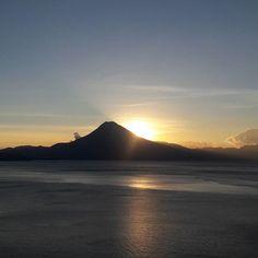 Sunset over San Pedro Volcano Lake Atitlan Guatemala.  #seeyouinguatemala #sunsets #lakeatitlan #volcano #guatemala