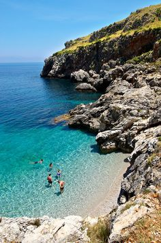 Isolated cove beach at the Zingaro Nature Reserve, Sicily, Italy