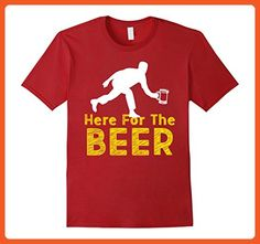 Mens Funny Bowling Hobby Here For The Beer Drinking Novelty Shirt Large Cranberry - Food and drink shirts (*Partner-Link)