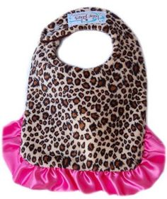 Each of the two reversible sides is decorated with a tasteful and authentic-looking Cheetah fur pattern, while the satin trim and pink satin ruffle at the bottom add some beauty and femininity to the bib. Adjustable for babies to use up to two years of age and made from super-absorbent material while being easy to clean and maintain, the Baby Jakes Reversible Cheetalicious Bib is the perfect way to keep your baby's clothes clean during mealtime in a fun and expressive way.