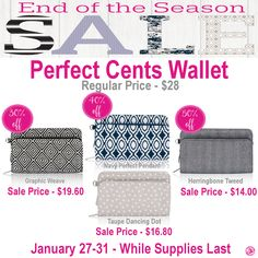Thirty-One Perfect Cents Wallet is on sale during End of the Season Sale
