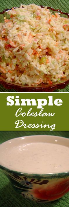 Simple Coleslaw (Cole Slaw) Dressing Recipe This simple coleslaw dressing is perfect for summer recipes. Easy Dressing Recipe, Salad Dressing Recipes, Salad Dressings, Homemade Coleslaw Dressing, Kfc Coleslaw, Coleslaw Salad, Coleslaw Recipes, Cabbage Recipes, Fish Recipes