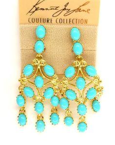 Kenneth Jay Lane Ornate Gold Turquoise Chandelier Clip Earrings Ebay