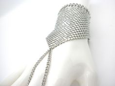 Mesh Silver Plated Bracelet w Attached Woman's Ring Ladies Slave Popular  #Handmade #Strand
